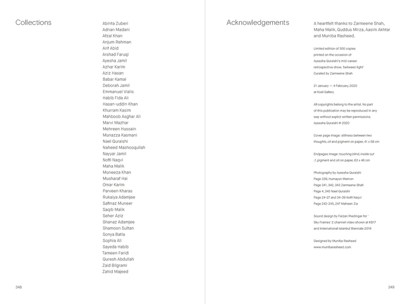 Monograph 'Between Light' acknowledgements by Ayessha Quraishi
